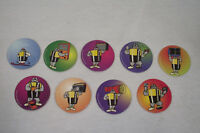 Lot 9 jetons WACKERS Serie Panasonic piles 95 Caps/Tazo/Paddles/Comic Shell/pog)