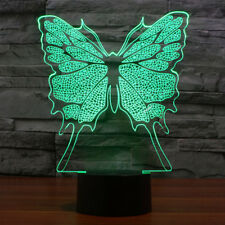 3D Led Lamp Optical Illusion Butterfly Night Touch Button 7 Color Change Decor