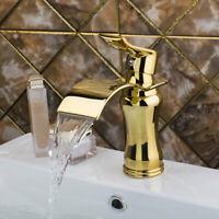 Luxury Gold Bathroom Basin Sink Mixer Vanity Faucet Single Handle Hole Brass Tap