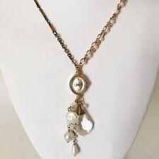Victorian Wedding Necklace Watch Pendant Vintage Gold Tone Steampunk Handmade 7