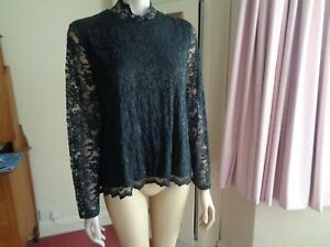 """MARKS & SPENCER PER UNA LACY EVENING BLOUSE LONG SLEEVES SIZE 20~~26""""L BNWOT"""