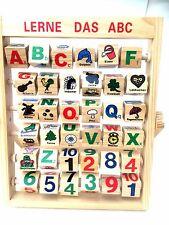 Lerne das ABC Holzspielzeug Lerntafel Buchstaben Holz Lernspiel Alphabet Spiele