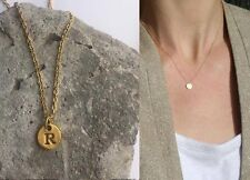 "Delicate Gold Round Disc "" R "" Letter Initial Pendant Necklace 18""L chain Urban"
