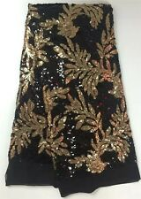 Bridal Wedding Black Gold  Sequin Leaf Floral Embroidered  Net Lace Fabric BTY