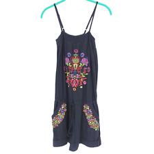 Johnny was Floral Embroidered Romper With Pockets Black Size Medium