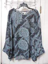 NWT MAURICES Moss Green & Black Floral Blouse Zipper Shoulders Size 3 - MSRP $34