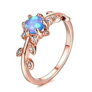 Opal Flower Ring 10k Rose Gold Filled Leaves Band US Size 5 - 11 Free Gift Box
