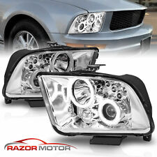 Dual Led Halo 2005 2009 Ford Mustang Chrome Projector Headlights Set Fits Mustang