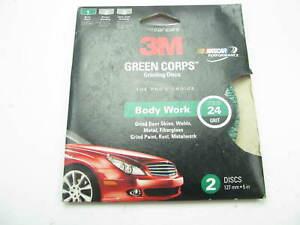 "3M 31915 Green Corps Grinding Disc - 24 Grit, 5"" Diameter 2/Pack"