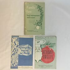 Vintage Lot of 3 Family Fare, Freezing Foods & Holiday Sweets Circulars Recipes