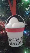 Snow Balls 5 Cents Mini Metal Pail Handmade Christmas Ornaments With Red Ribbon