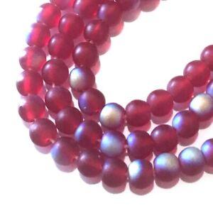 50 Czech Glass Round Beads - Matte AB moonstone: Ruby 4mm