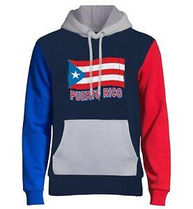 Men's Grunge Puerto Rico Flag Navy Color Block Hoodie Puertorican Boricua Island