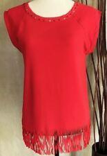 ZARA Woman RED Fringe Hem Sleeveless Star Stud Cowgirl Tunic Top UK S M £29.99