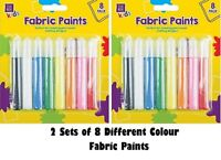 2 Pack of 8 Fabric Paint Pens T-Shirt Clothes Designs Assorted Permanent Colours