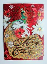 *POOCH & SWEETHEART Set of 4 Gold Foil Dimensional 3D Christmas Cards ~ Peacock