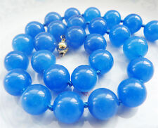 Fashion Beautiful 10MM Blue Sapphire Gemstone Round Beads Necklace Gold Clasp