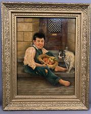 Antique Young Beggar Street Boy & Dog Primitive Folk Art Old Genre Oil Painting