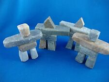 """FOUR PIECES 3"""" INUKSHUK CARVING SOAPSTONE INUIT AND ESKIMO TAG"""