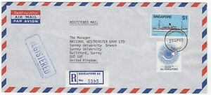 1983 SINGAPORE Registered Air Mail Cover TOAPAYOH to GUILDFORD GB Nat West Bank