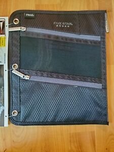 """Mead Five Star Pencil Pouch for Binders 3 Zippered Compartments 11"""" x 8 3/4"""""""