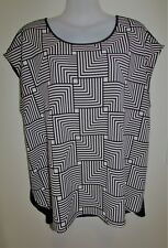 BASQUE Woman Black & White Patterned Top Blouse Size 16