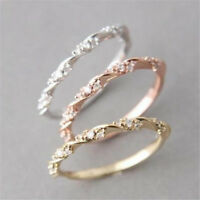 Fashion Unisex 18K Rose Gold Filled Ring White Sapphire Women Wedding Jewelry