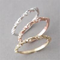 Women Fashion 18K Rose Gold Filled White Sapphire Unisex Wedding Jewelry Ring