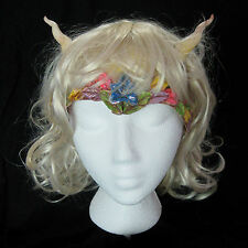 Fairy Queen Princess Adult Halloween Blond Wig Ears Horns Drink While Wearing