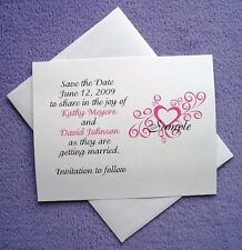 100 Personalized Custom Heart Swirl Wedding Save The Date Cards All Colors