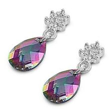 Silver Earrings with Cubic Zirconia Dangle Rainbow Topaz Height 18 mm (0.72 inch