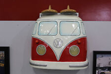 Volkswagen Samba Bus Painted Red Resin Front Wall Decor w Lights 7580-117