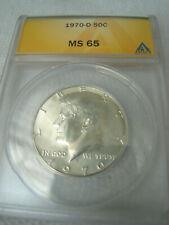Kennedy 1970 D 40% Silver 50 Cents Half Dollar, ANACS Grade MS65