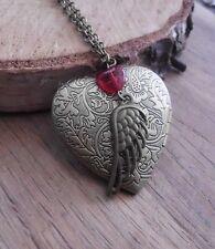 Foto medaillon herz wing flügel Herz steampunk vintage Liebe kette victorian xxl