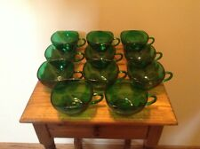 11 nice rich emerald green Depression glass square coffee tea punch cups