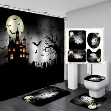 Moon Night Bathroom Halloween Shower Curtain Door Bath Mat Toilet Cover Rugs