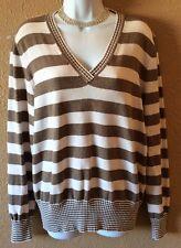 Women's Liz Claiborne XL Sweater Stripe Gold And White V Neck Top