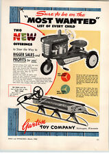 1962 PAPER AD Garton Pedal Car Farm Tractor Bobsled Snow Sled Steering Wheel