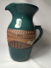 """Clay Pen Pottery Large Pitcher """"Fill Your Life With Wonder And Your Heart Love"""""""