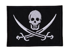 PIRATE SKULL BLACK JACK MILITARY  Embroided Iron On VEST,JACKET  Patch  P20