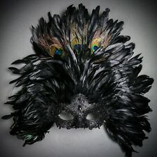 Large Top Black Feather Venice Festival Mardi Gras Masquerade Mask for Women