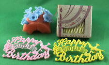 New ListingVintage Lot Birthday Cake Decor - Candle Holders, Nip Candles & 2 Cake Toppers