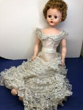 """30"""" Vintage Vinyl Golden Haired Doll Beautiful Silver & White Gown"""