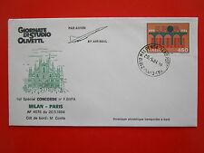 ENVELOPPE VOL CONCORDE SPECIAL MILAN PARIS 20/5/1984 CONTE SST SUPERSONIQUE