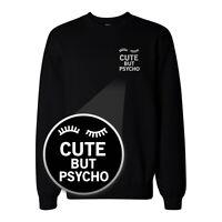 Cute But Psycho Pocket Print Sweatshirt Back To School Sweat Shirt