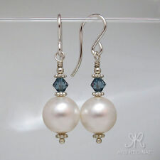 """● 10mm ● SC Perlen Ohrringe weiß & """"grünes""""  ÖKO Silber ● Anlaufschutz"""