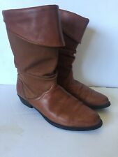 Santana Canada Women's Brown Leather Ankle Foldover Boots Size 7 M