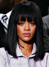 100% Real Hair! Rihanna Medium Lob Straight Black Capless Hair Wig