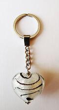 exklusiver Schlüsselanhänger Glas Herz / Unikat / Geschenkset / schwarz / weiss