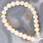 """Natural Freshwater Pearl Rice Beads Big Hole 7"""" White Peach Gray Free Shipping"""